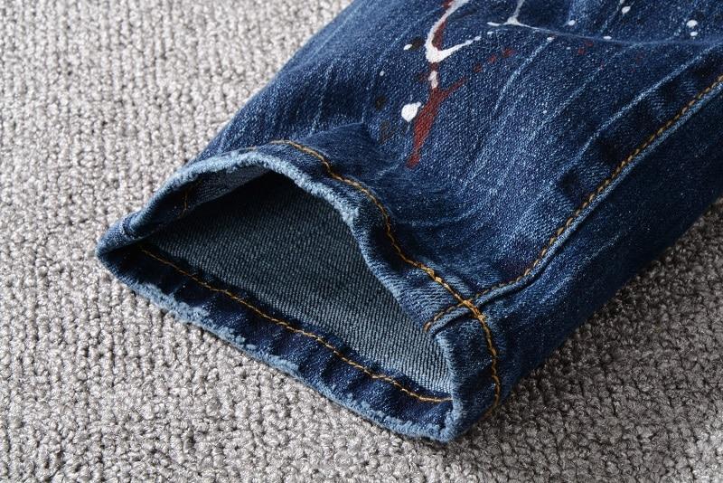 Men's Distressed Ripped Blue Biker Jeans Zip Fly 5
