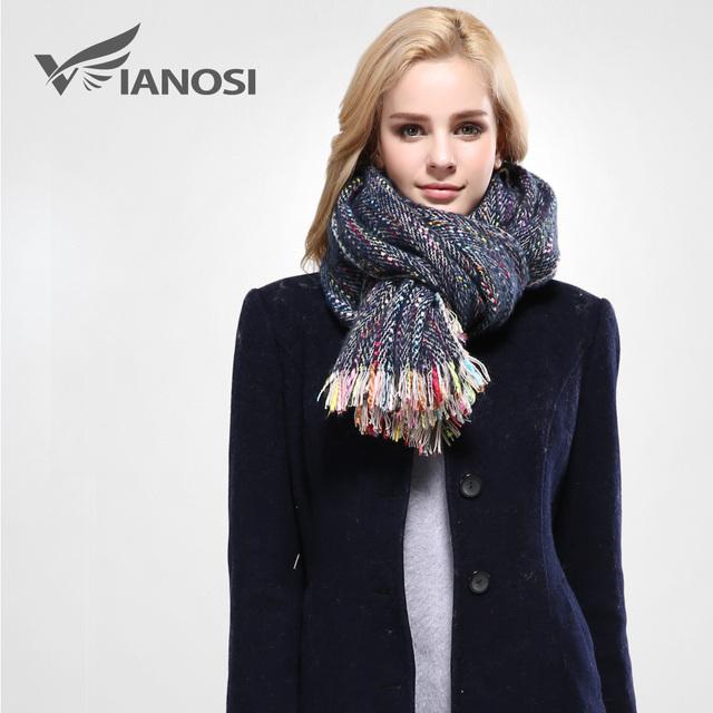 [Vianosi] listras coloridas da moda cachecol de inverno mulheres borla xales e cachecóis marca foulard cachecol macio quente mulher va085