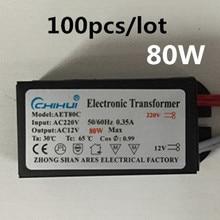 цена на Wholesale 100pcs/lot 80W 220V Electronic Transformer Halogen Light LED Driver Power Supply Converte 3 year warranty!