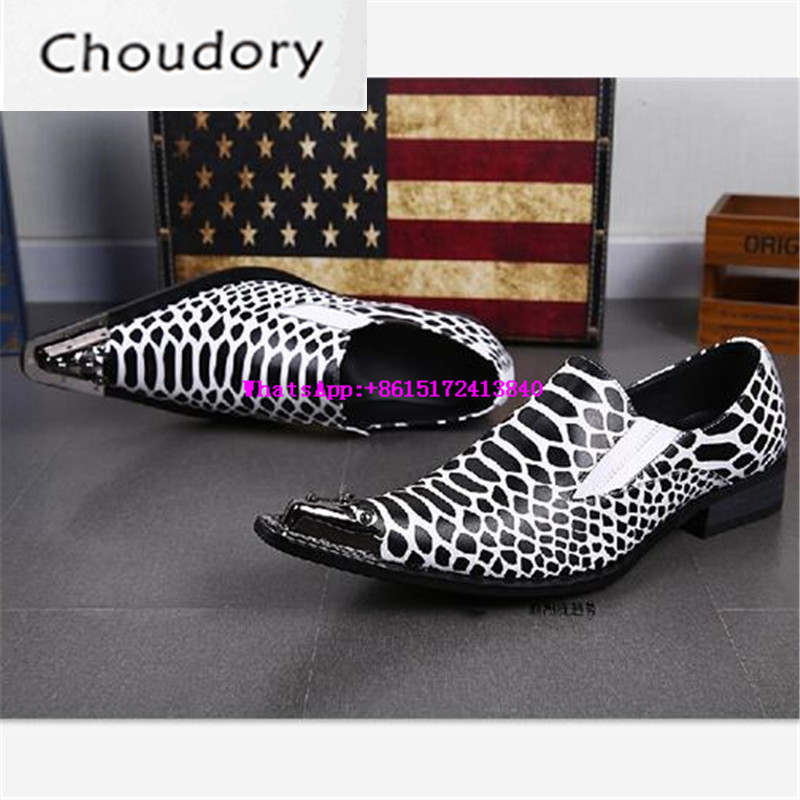 Choudory Breathable Slip-On Dress Men Shoes Casual Snakeskin Steel Toe Work Shoes Metal Decoration Pointed Toe Print Men Shoes