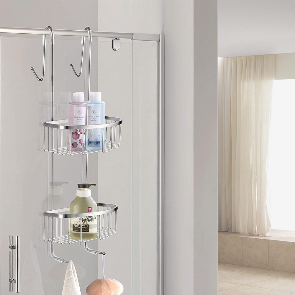 Free Shipping SUS304 stainless steel multifunctional double basket Hanger Basket Storage Shelf With Hook bathroom stainless steel shower shelf caddy basket storage with robe hook chrome 09 117