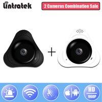 Lintratek WiFi HD 960P Panoramic Camera Home Mini Wireless Security Camera 360 Degree Surveillance Fisheye Camera 2 in 1 pack