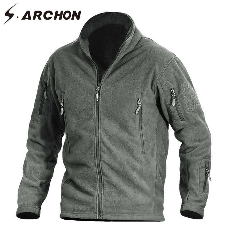 S. ARCHON Warm Thicken Militaire Fleece Jas Mannen Outdoor Casual Multi Pockets Zachte Thermische Leger Jas Wandelen Tactische Jassen