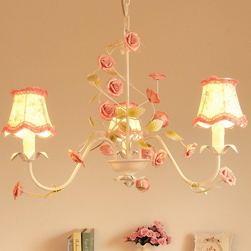 Pays rustique salon lustres Floral tissu métal feuille Rose céramique Rose chambre Bar comptoir salle à manger suspension lampe