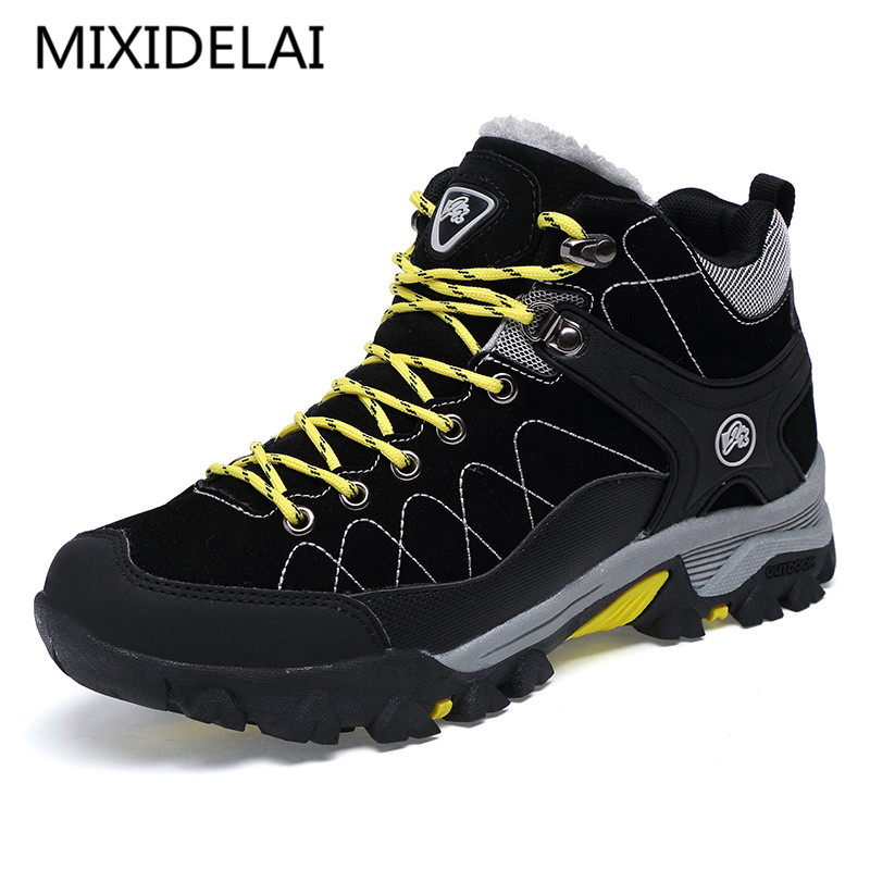 New Men Boots Winter With Fur 2018 Warm Snow Boots Men Winter Boots Work Shoes Men Footwear Fashion Rubber Ankle Shoes 39-45(China)