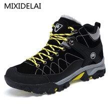 Новые мужские ботинки на меху, 2018 теплые зимние ботинки, мужские зимние ботинки, Рабочая обувь, мужская обувь, модные резиновые ботильоны, 39-45