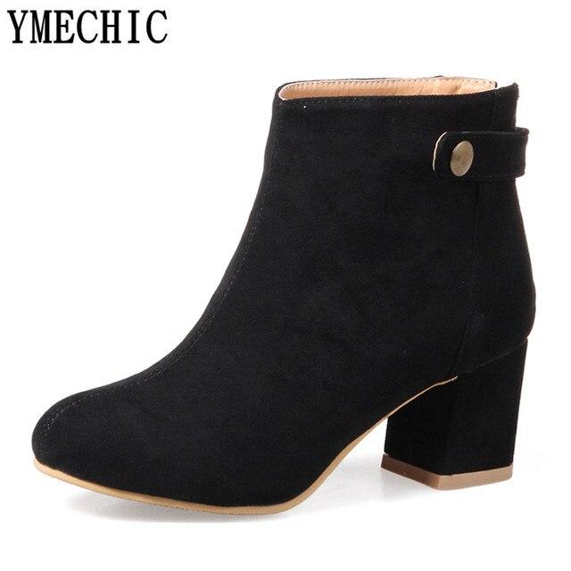 Ymechic дамы дешевые китайские туфли женские ботильоны для Для женщин обувь на высоких квадратных каблуках Черный, серый цвет розовый плюс Размеры полусапожки осень 2017