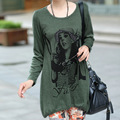 BIG SIZE L-4XL Lady Fashon Printed T-Shirt 2016 Autumn Maternity Loose Elegant  Women Casual Tees