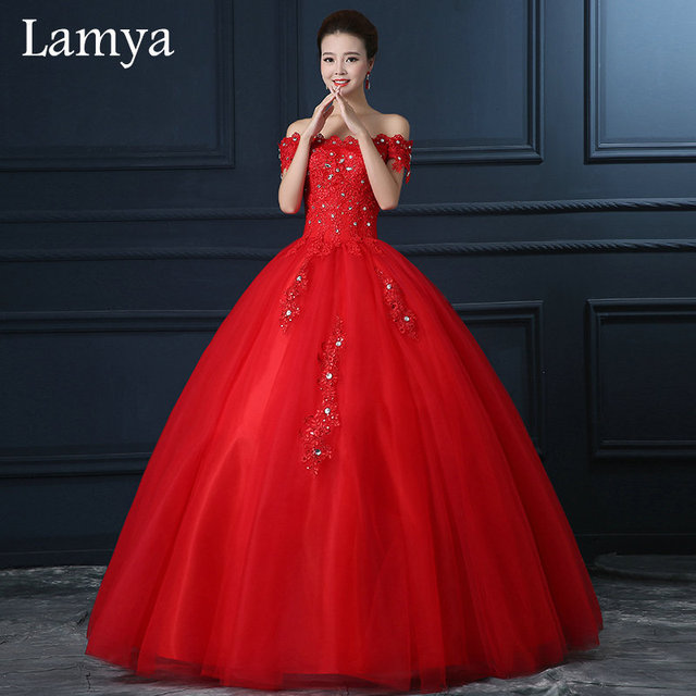 Buy red discount boat neck plus size ball for Cheap red wedding dresses