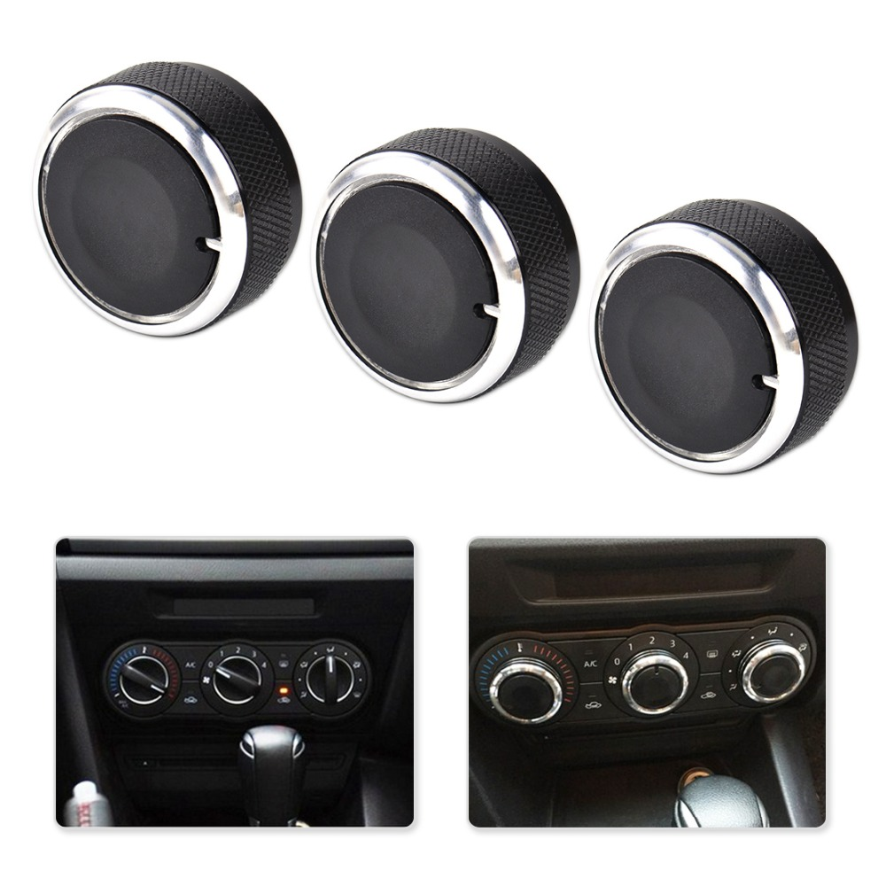 DWCX 3PCS car-styling Aluminum Alloy plastic Air Conditioning Knobs Switch For Mazda3 Mazda 3 2003-2005 2006 2007 2008 2009 car for mazda 3 mazda3 2004 2005 2006 2007 2008 2009 accessories pedal brake accelerator footrest sticker manual mechanical mt