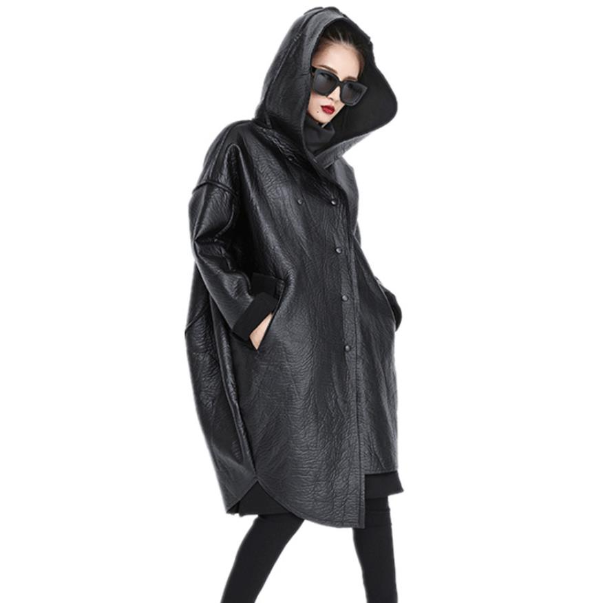Fleece Pu   leather   coats female irregular design hooded black casual jackets 2019 women loose big size outerwear tops gx1624
