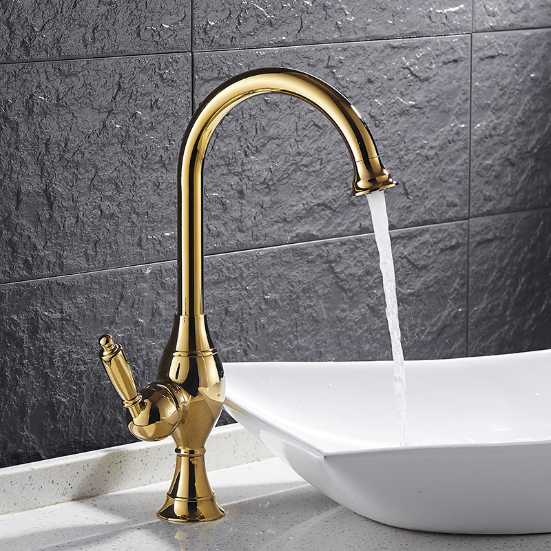 DONYUMMYJO Top Grade Basin Faucet Kitchen Faucet 360 Degree Rotation Single Handle Vessel Sink Hot Cold