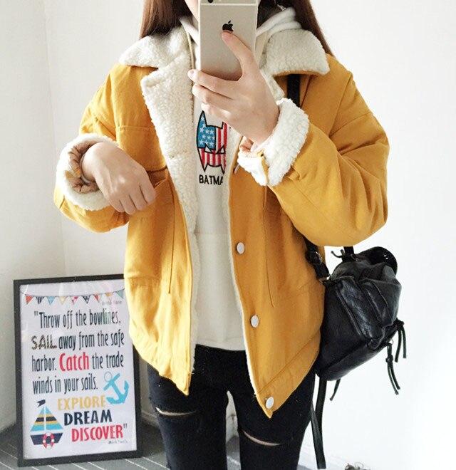 Koreli öğrenciler kış ceket küçük pamuk yastıklı ceket kısa pamuk elbise suit ekmek BF Kore rüzgar ceketi kadın kuzu