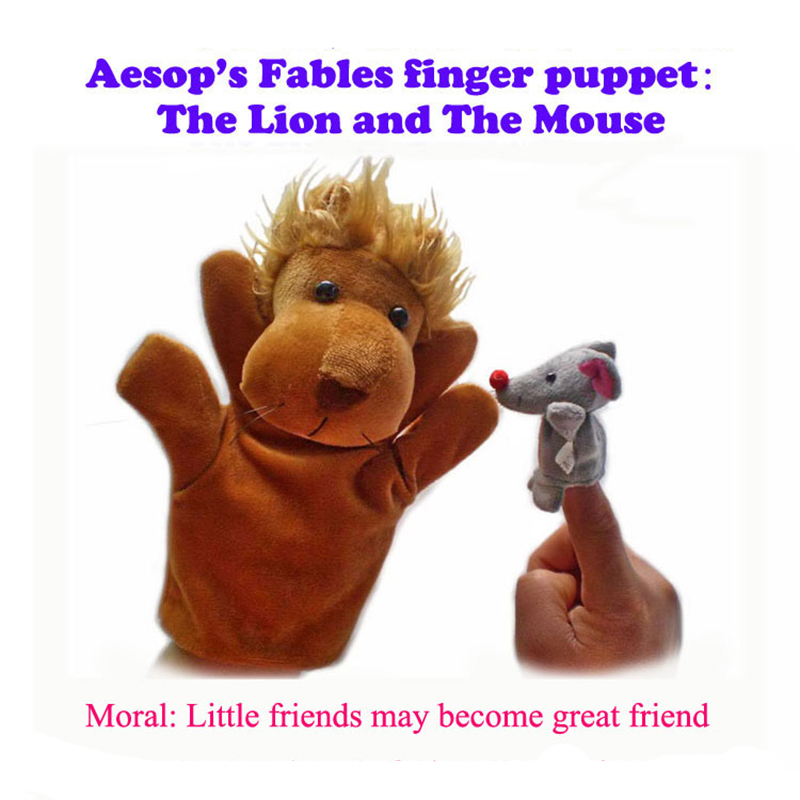 2Pcs Finger Doll Baby Plush Toys Aesop Fables story finger puppet The lion and The Mouse Little friend may become great friend