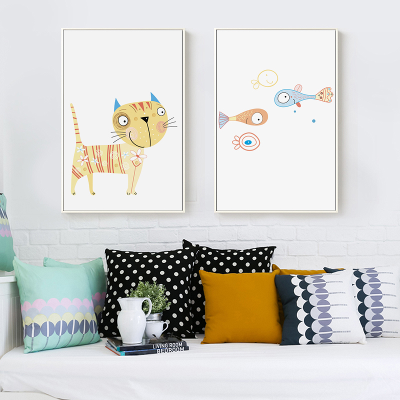 Bianche Wall Modern Nordic Cartoon Cat and Fish Canvas Painting Art Print Poster A4 Wall Paintings Room Home Decoration
