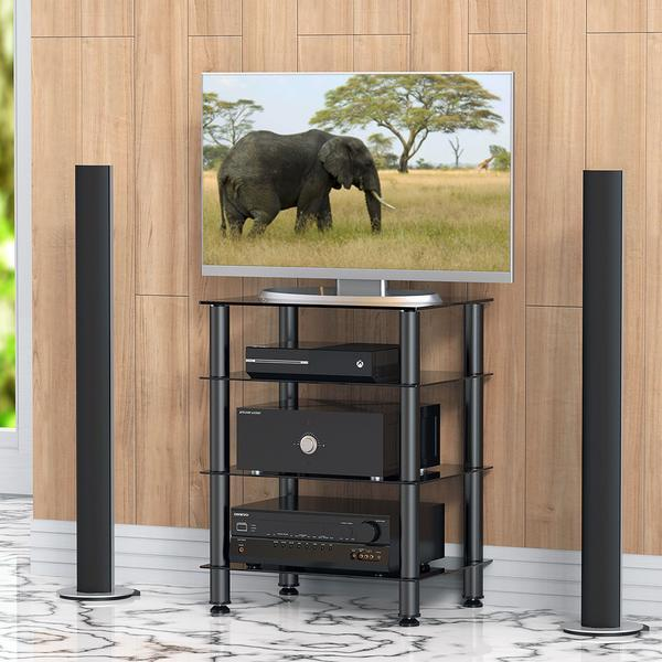 Fitueyes 4 Tier Tv Media Stand For Audio Cabinet Apple Tv Xbox One