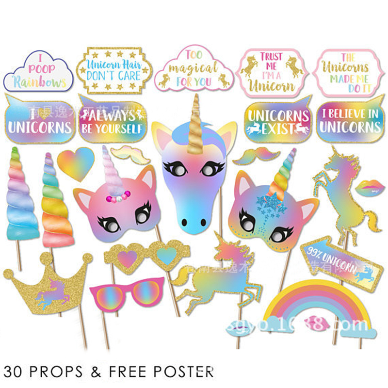 Unicorn Party Photo Booth Props Rainbow Unicornio Latex Balloons Candy Bags  Birthday Decoration Eenhoorn Party Favor Supplies