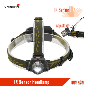 Uranusfire LED Sensor switch headlamp Super bright T6 3 lighting Modes head light with USB cable for fishing camping Hunting rechargeable led headlamp sensor switch headlight waterproof super bright 4 lighting modes fishing headlamp with usb cable
