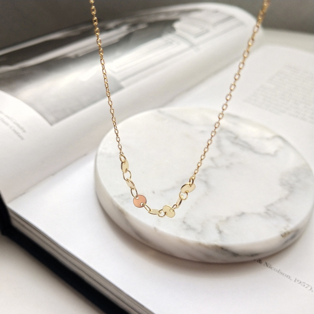 Women 925 Sterling Silver Gold Round Disc Staking Sequin Bib Necklace Shimmery Circle Star Charm Short Choker Statement Necklace