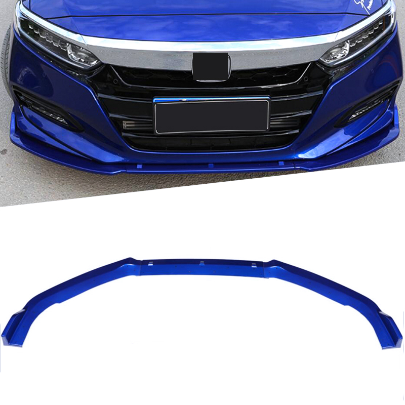 For Honda 10th Accord sedan 2018 ABS Black Bumper Strip Car Lip Skirt Protector Exterior Front Lip Bumper White Blue Color 3PCS