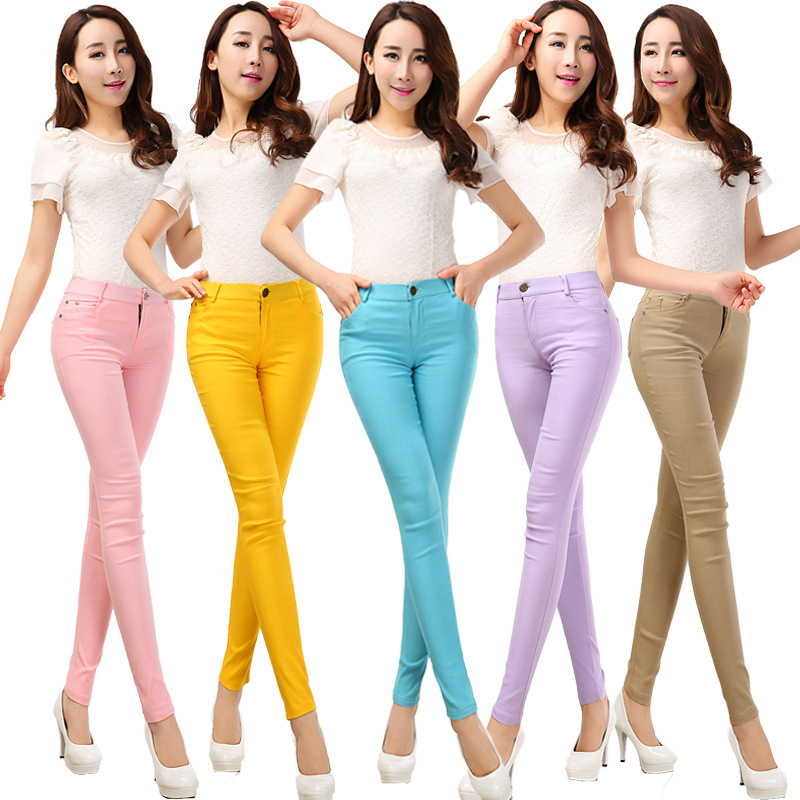 2016 Spring and Summer Women's Slim Pencil Pants Candy ...