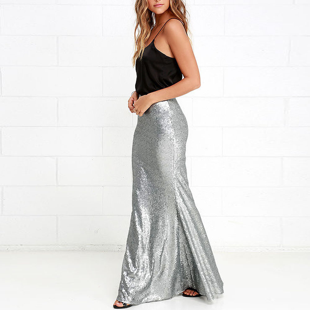 Preself 2017 New Fashion Slim Women Silver Sequins Long Party Skirts Gothic Victorian Ladies Prom Fishtail Skirt