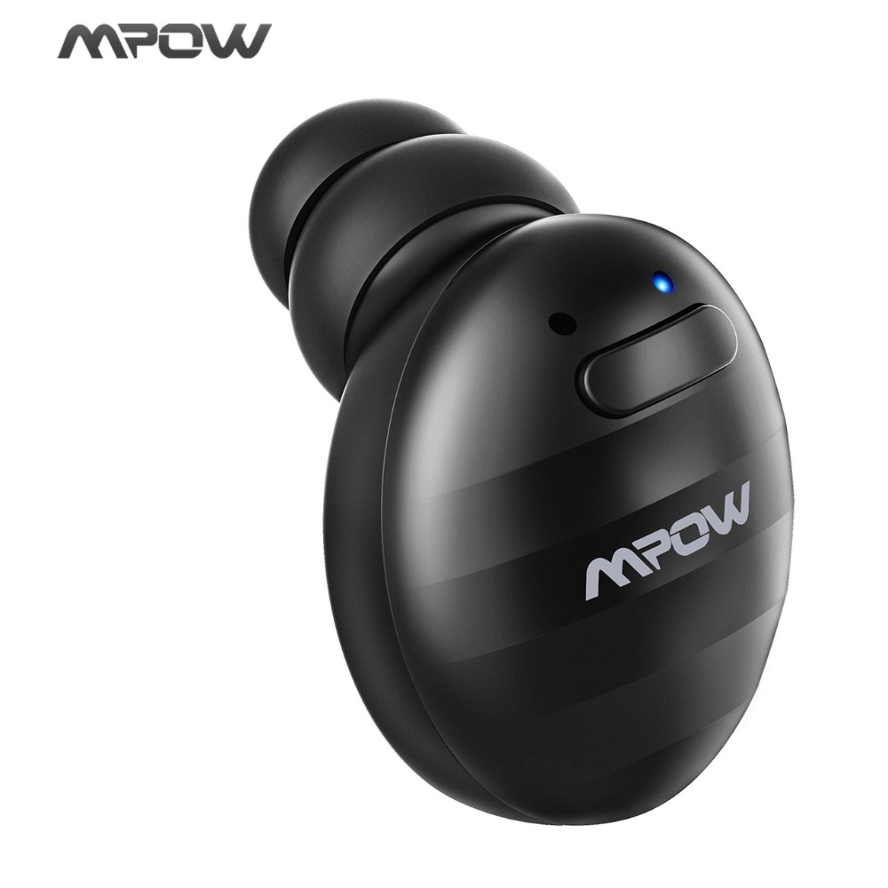 Mpow Mini V4.1+EDR Single Wireless Bluetooth Earphones 6h Playtime Soft Earbud For Driver Phones with 2 USB Charger dacom k8 mini wireless bluetooth 4 1 single earbud