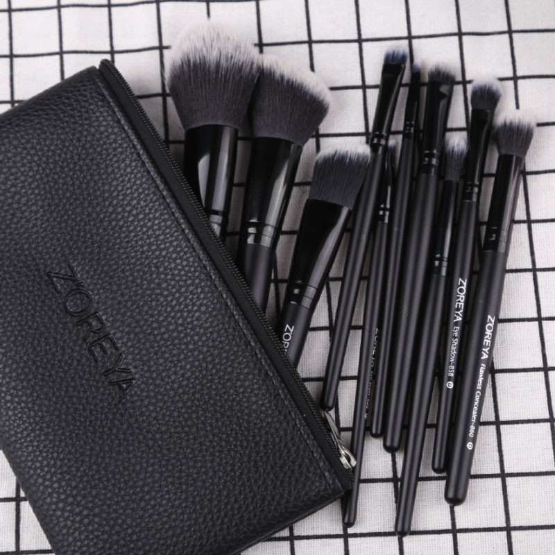 Image 2 - Zoreya Brand Black Makeup Brushes 10pcs Synthetic Fibers Cosmetic Kit Crease Eye Brow Blush Powder Brush For Make Up BeginnerEye Shadow Applicator   -