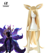 ROLECOS Game LOL KDA Ahri Cosplay Hair K/DA Ahri Long Yellow Hair New Skin Cosplay Headwear 90cm Synthetic Hair for Women(China)
