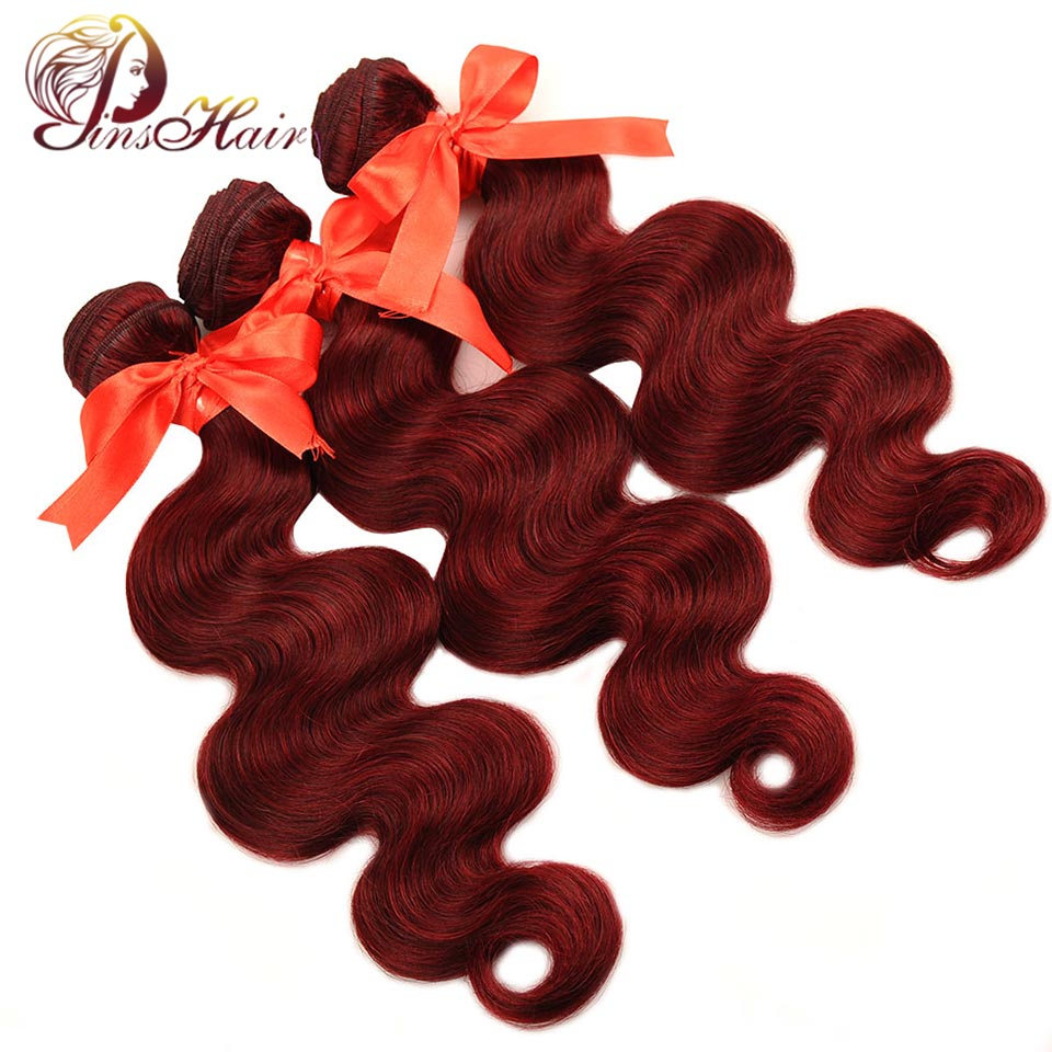 Pinshair Bold Red Hair 99J Burgundy Bundles Body Wave Brazilian Hair 3 Bundles Thick Human Hair Weave Bundles Extension Non Remy