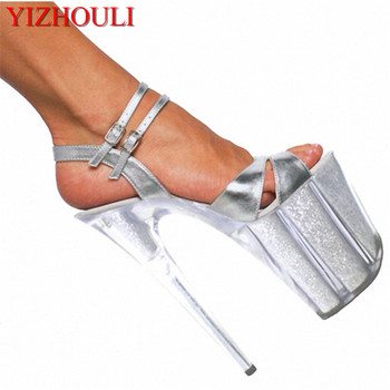 20cm Women's pole dancing and sexy sandals, fish mouth thick bottom waterproof PU women's shoes, star show interest Dance Shoes фото