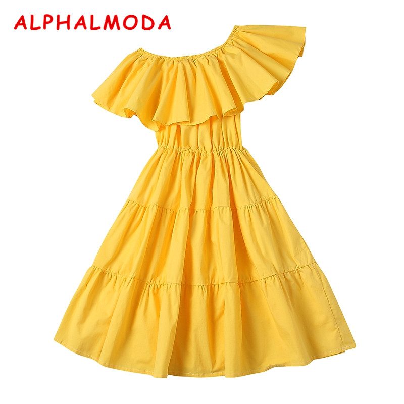 ALPHALMODA 2018 Summer Inclined Collar Ruffled Dress Women Off Single Shoulder Sexy Cotton Vestidos