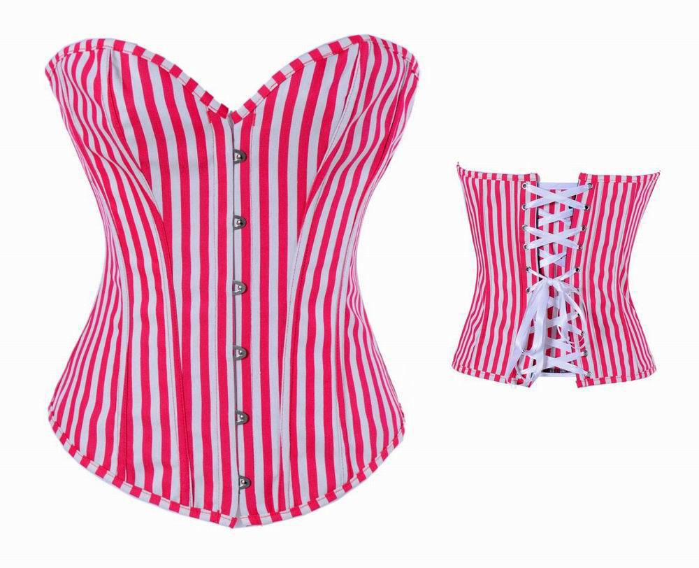 Red   Corsets   And   Bustiers   Steampunk Stripe Overbust   Corset     Bustier   Basque   Corsets   Korsett For Women Sexy Lingerie