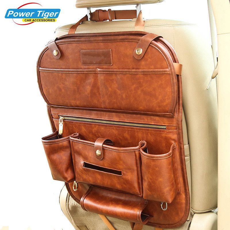 Из натуральной кожи заднее сиденье автомобиля Органайзер карманы складной заднее сиденье подвесной держатель сумки для хранения Авто Коро...