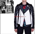 HOT! 2016 roupa Nova moda Masculina Jaqueta de Michael Jackson de Metal Zipper Jaquetas De Couro brasão Spliced Estágio Cantor Trajes