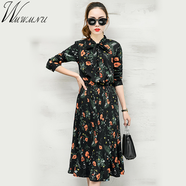023a01b920c08 2018 New Spring Women Floral Print Pleated Chiffon Dresses boho Style  Bowknot collar Retro black flower Dress -in Dresses from Women's Clothing &  ...