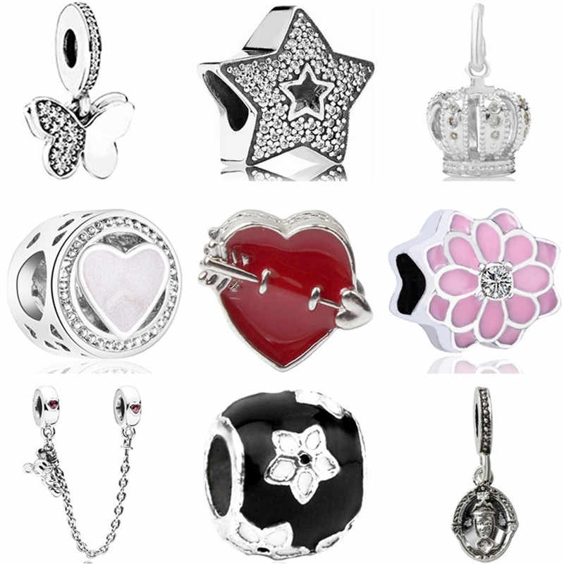 New Fashion Crystal Star Crown Butterfly Owl Safety Chain Heart Beads Fit Pandora Charms for Women DIY Trinket Jewelry