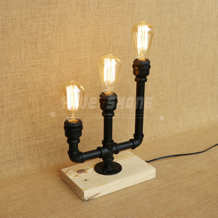 Three bulbs wooden base decoration water pipe desk lamp used for restaurant cafe bar bedroom цена