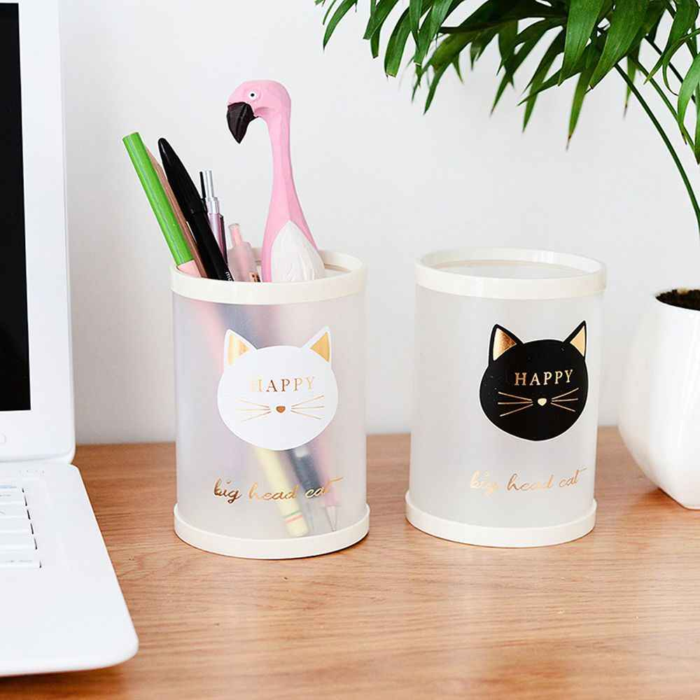 1pc Cartoon Cat Pen Holder Transparent Frosted Pencil Organizer Stationery Bucket Pencil Container Case Office School Supplies