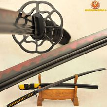Japanese Samurai Katana Sword Handmade Full Tang Unokubi-Zukuri Red Blade Clay tempered Damascus Folded Steel Can Cut Bamboos