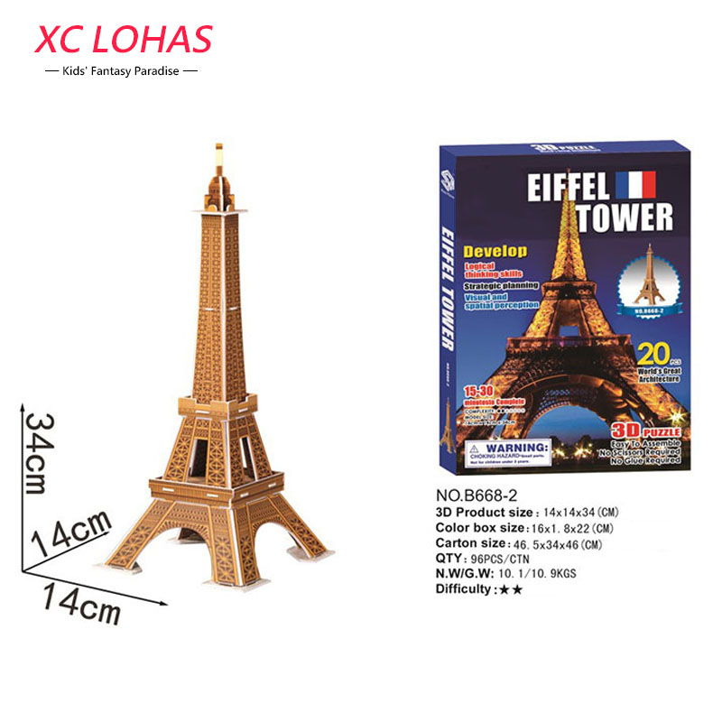 3D DIY Model Eiffel Tower Jigsaw Puzzle World Architecture Children Adult Educational Puzzle Toys Fast Shipping series s 3d puzzle paper diy papercraft double decker bus eiffel tower titanic tower bridge empire state building