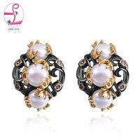 ZHE FAN Fashion Earrings Women AAA Cubic Zirconia Black Gold Color Unique Jewelry Earring For Lady