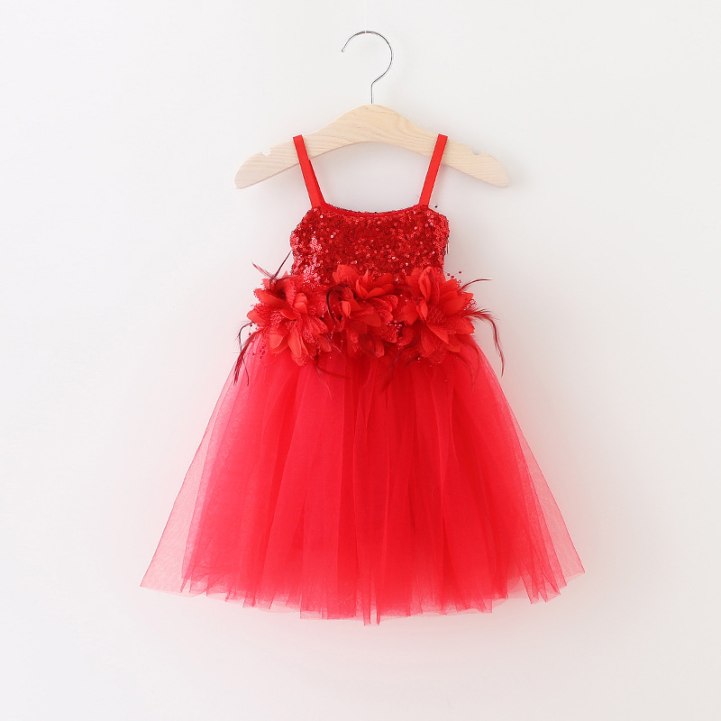 Girls Lace Sequined Party Dresses Baby Girl 3D Floral Feather Dress Kids Princess tutu Dress 2016 Bebe Autumn Christmas clothes