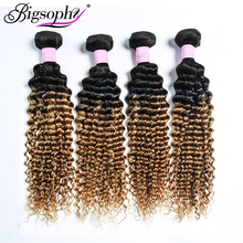 Bigsophy Brazilian Hair Wave Bundles Deep Human 4 Deal Remy Extension Ombre Weft 2 Tone T1B/30