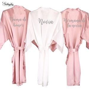 Sisbigdey dusty pink novia bride robe women dama de honor hermana de la novia Espanol spanish kimono bride party bridesmaid robe(China)