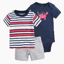 Verão 2017 nova baby boy set roupas Macacão de Bebê, camisa de t, calças curtas dos homens, 3 pçs/set Roupas de Bebê Definir 100% Algodão Roupas Infantis