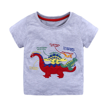 Summer Kids Boys T Shirt Grey Print Short Sleeve Baby Girls T-Shirts Cotton Children's T-Shirt O-Neck Tee Tops Boy Clothes