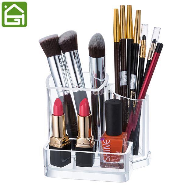 clear acrylic makeup organizer makeup brushes cosmetic brush holder 3 compartment storage. Black Bedroom Furniture Sets. Home Design Ideas