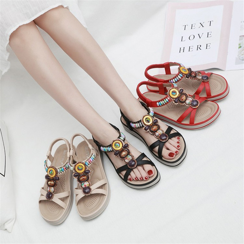 Женская обувь; коллекция 2019 года; летние сандалии на платформе в богемном стиле; женская модная повседневная обувь для свиданий