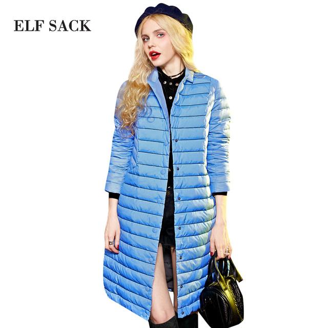 Yz Elf SACO invierno raya del fósforo del colorante femenino traje de cuello abajo cubre diseño largo femenino